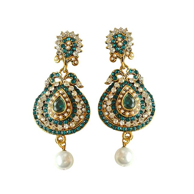 Drop Shaped Designer Blue & White Coloured Stone, Shell Pearl & Gold Plated Ch Bali Earrings