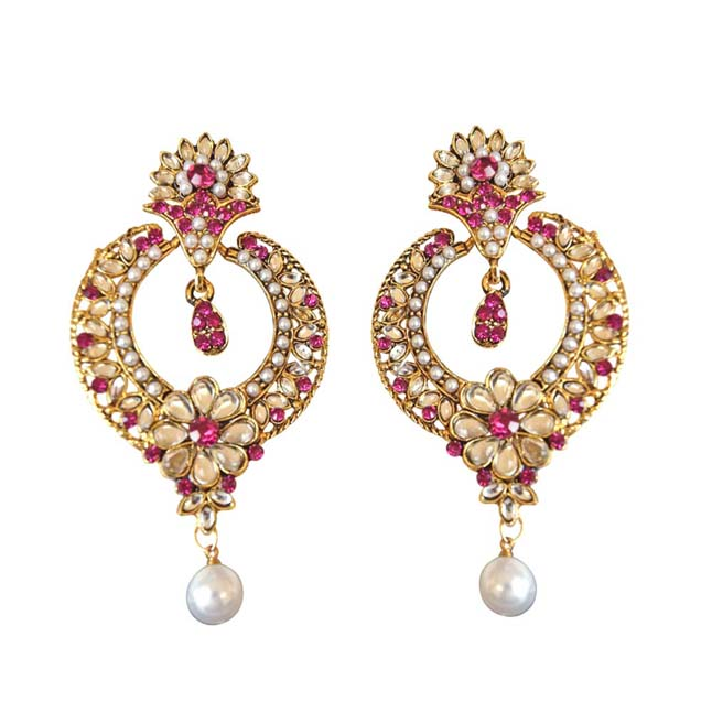 Trendy Pink & White Coloured Stone, Shell Pearl & Gold Plated Ch Bali Earrings