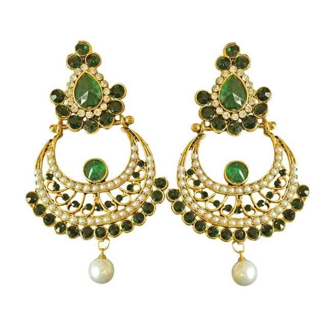 Ethnic Green & White Coloured Stone & Shell Pearl & Gold Plated Ch Bali Earrings