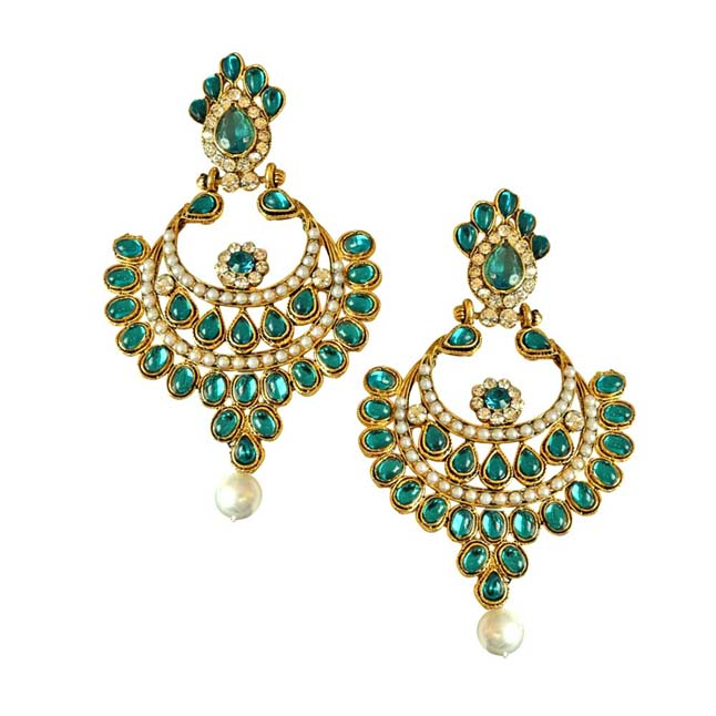 Ethnic Green & White Coloured Stone, Shell Pearl & Gold Plated Big Ch Bali Earrings