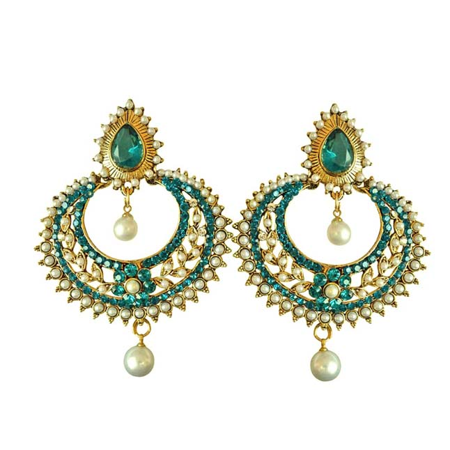 Fancy Blue Coloured Stone, Shell Pearl & Gold Plated Ch Bali Earrings