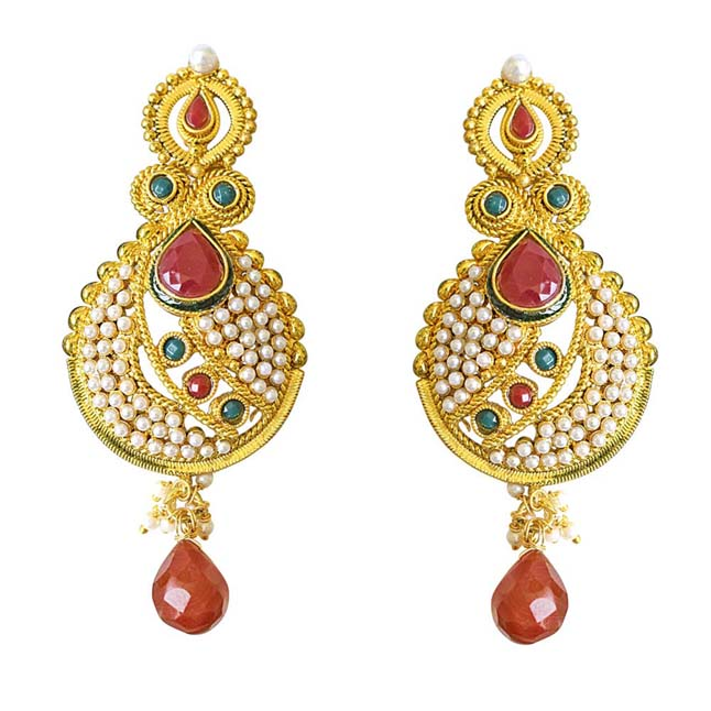 Ethnic Copper Gold Plated Red & Green Coloured Stone Dangling Earrings