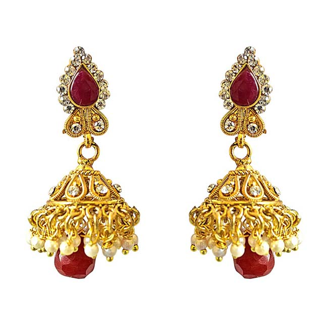 213bb81d2 Traditional Drop Shaped Red & White Coloured Stone & Gold Plated Copper  Jhumki Earrings