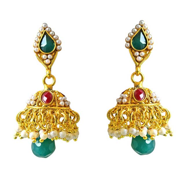 Traditional Green & Red Stone & Gold Plated Copper Jhumki Earrings