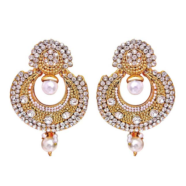 Traditional Round Shaped White Stone & Gold Plated Dangling Fashion Earrings for Women