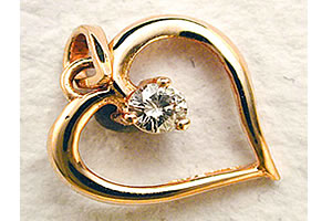 Pure Golden Love Real Diamond Heart Pendants