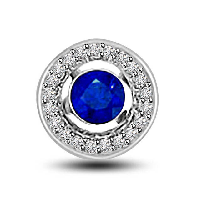 Push This Love Button:Round Sapphire Surrounded With Diamond 14kt Pendants