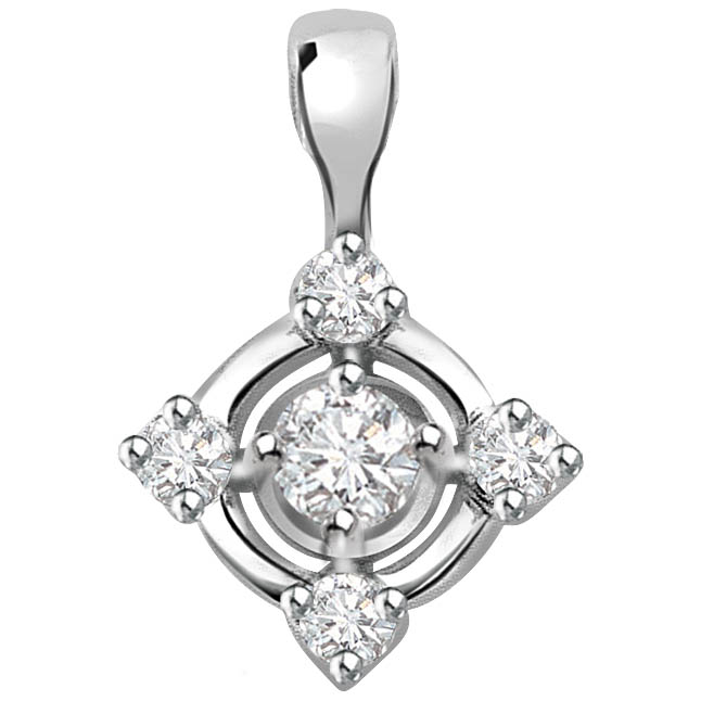 Queen's Pride 0.15 ct Diamond White Gold Pendants