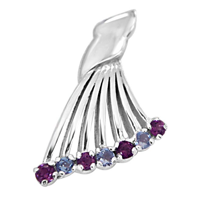 "Queen's Wing Blue Topaz, Pink Rhodolite & 925 Sterling Silver Fan Shaped Pendants with 18"" Chain"