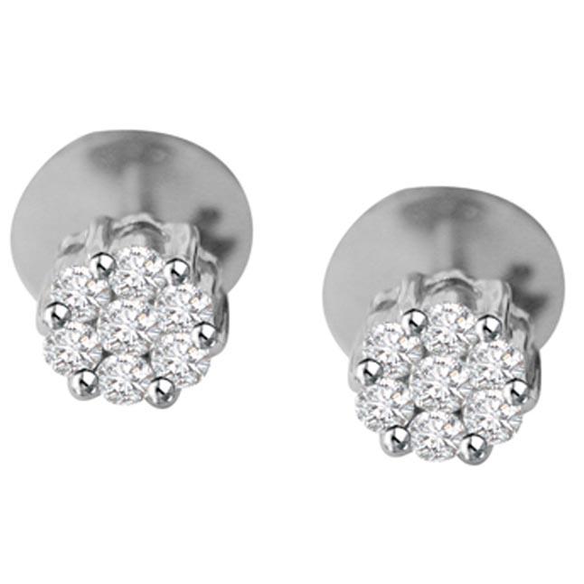 Fantastic Female Diamond Earrings -White Rhodium