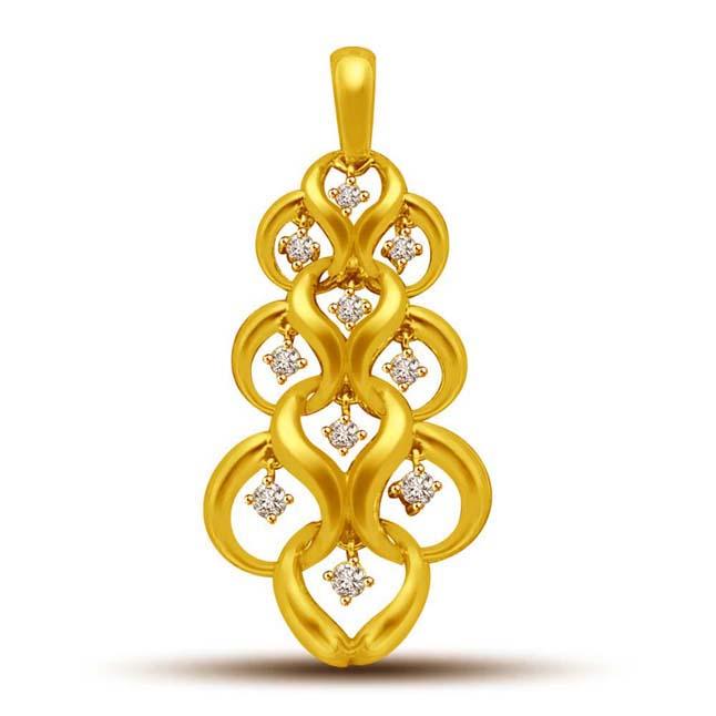 RAIN DROP -Diamond Pendants in 18k Gold -Designer Pendants