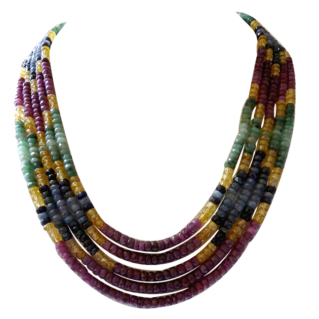 516cts 5 Lines Natural Real Emerald, Ruby & Sapphire Rainbow Necklace -Rainbow Necklace