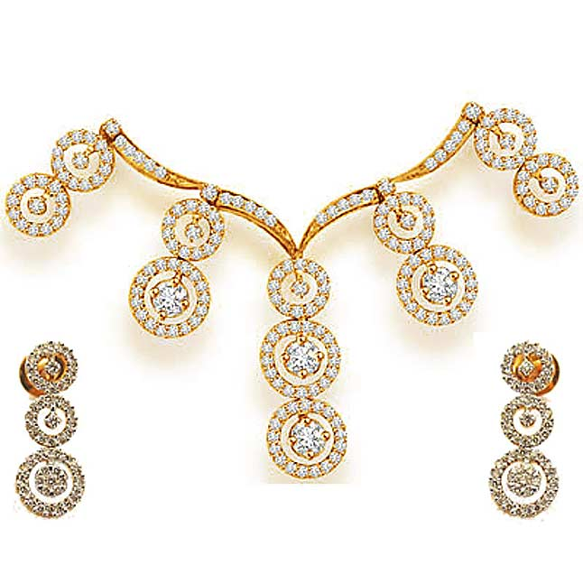 Raining Star Drops 3.48ct Classy Diamond Necklace Set