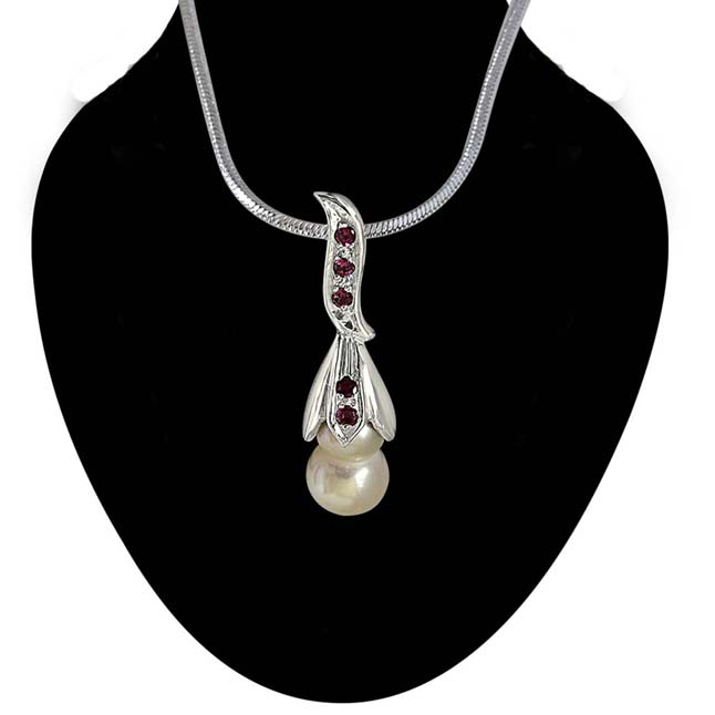 "Rare Twin Pearl Silver Pendants with Pink Rhodolite Semi Precious Stone with 18"" Chain -Designer Pendants"