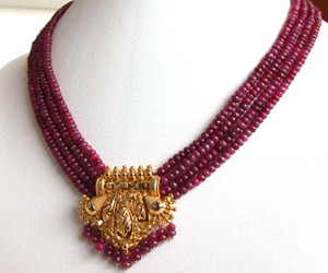 4 Line Real Red Ruby Beads & Gold Plated Pendant Necklace for Women (RBN4)