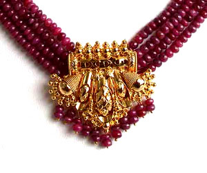 Red Ruby Necklace with Earrings (RBN4SE75)