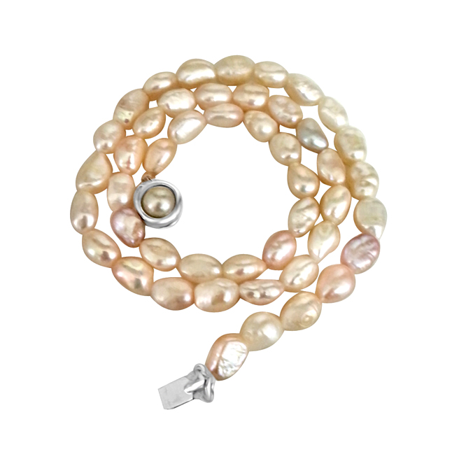 Real Natural Pinkish white Elongated Pearl Necklace -Pearl Necklaces