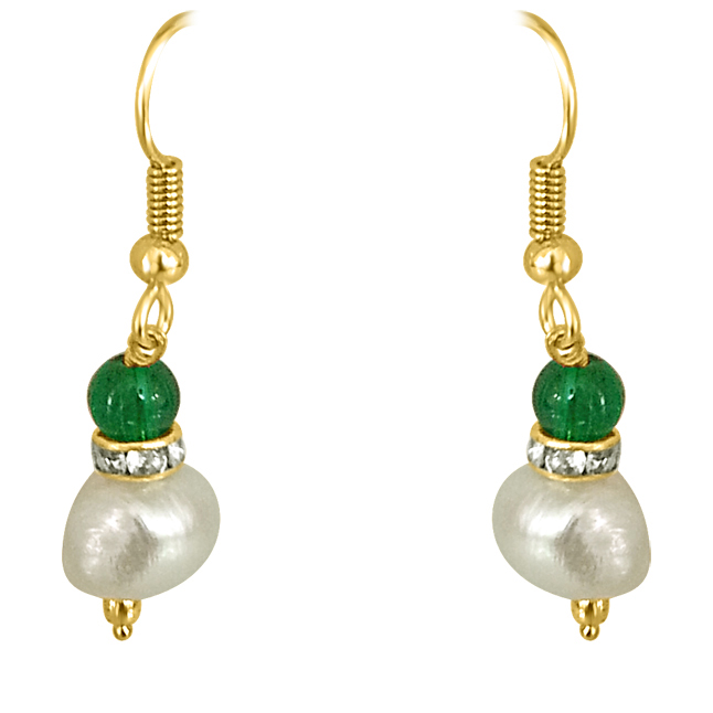 Real Big Pearl & Green Stone Earrings