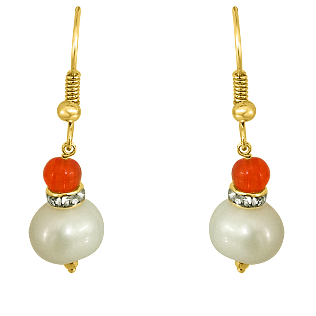 Real Big Pearl & Orange Stone Earrings