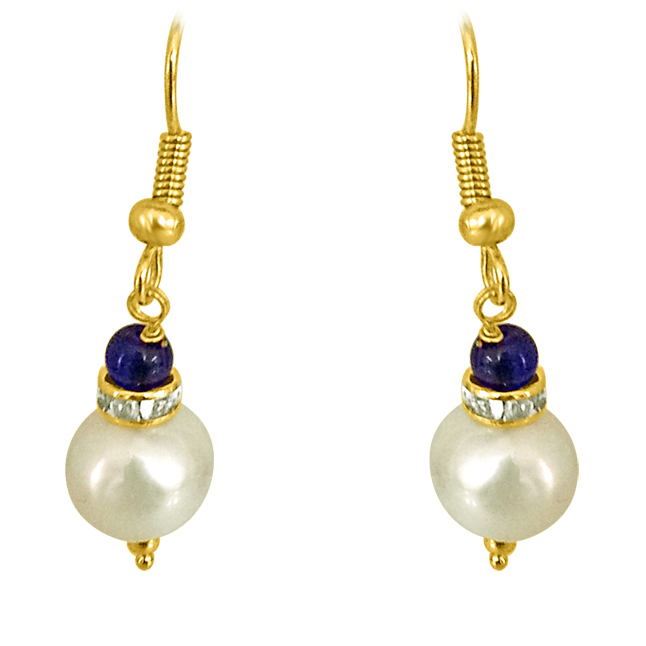 Real Big Pearl & Blue Stone Earrings