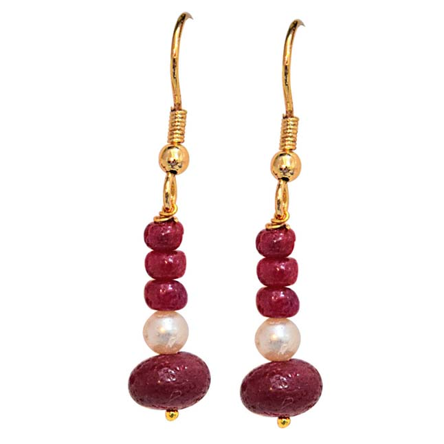 Real Bright Red Ruby Beads & Freshwater Pearl Gold Plated Hanging Earrings for Women (SE239)