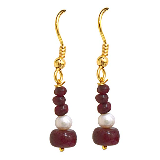 Real Dark Red Ruby Beads & Freshwater Pearl Gold Plated Hanging Earrings for Women (SE238)