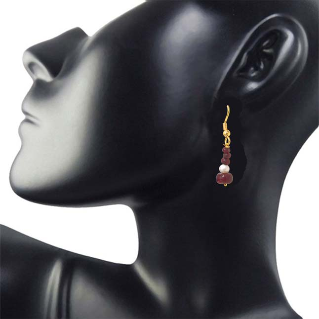 Real Dark Red Ruby Beads & Freshwater Pearl Gold Plated Hanging Earrings