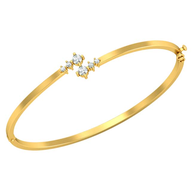Real Diamond & Yellow Gold Plated 925 Solid Sterling Silver Bracelet for Your Love -Diamond Bracelets