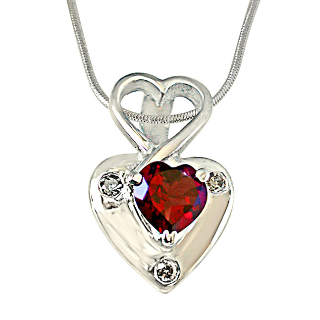 "Real Diamond & Heart Shaped Red Garnet Pendants with 18"" Chain"