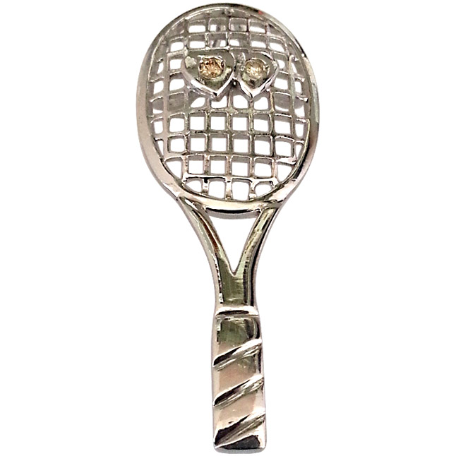 Real Diamond & Silver Tennis Racket Pendant - Sport Collection