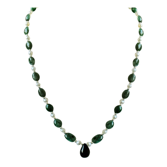 Real Drop Blue Sapphire, Oval Green Emerald, Freshwater Pearls & Silver Plated Beads Necklace (SN679)