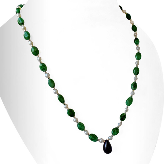 Real Drop Blue Sapphire, Oval Green Emerald, Freshwater Pearls & Silver Plated Beads Necklace -Single Line