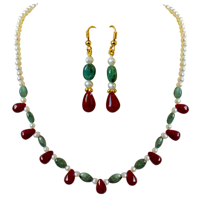 f9fabb87d047d Real Drop Ruby, Oval Emerald & Freshwater Pearl Necklace Earring Set