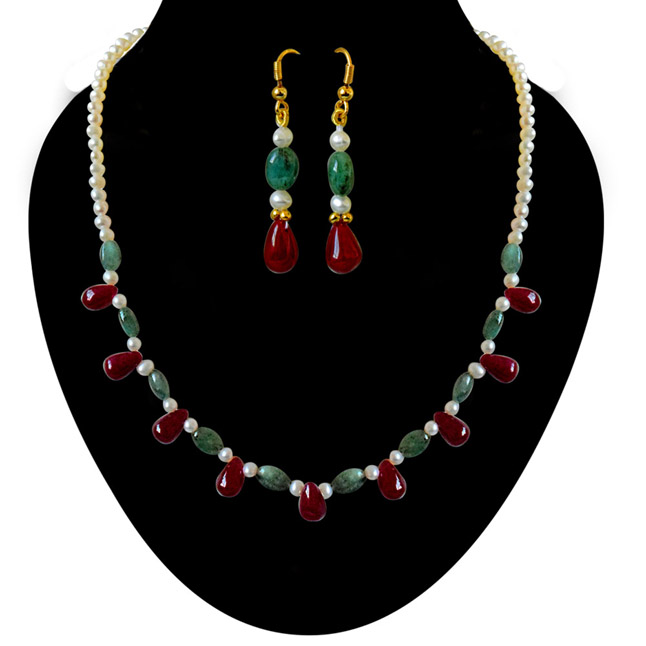 Real Drop Ruby, Oval Emerald & Freshwater Pearl Necklace Earrings Set -Gemstone Set