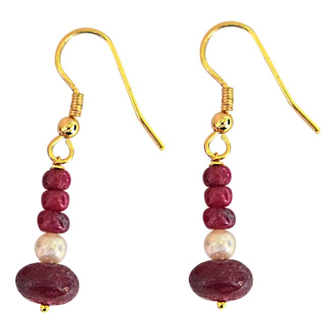 Real Bright Red Ruby Beads & Freshwater Pearl Gold Plated Hanging Earrings