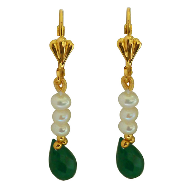 Real Faceted Drop Green Onyx Necklace Earrings Set -Pearl Set