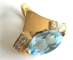 Real Love Diamond & Blue Topaz Pendants -Dia+Gemstone