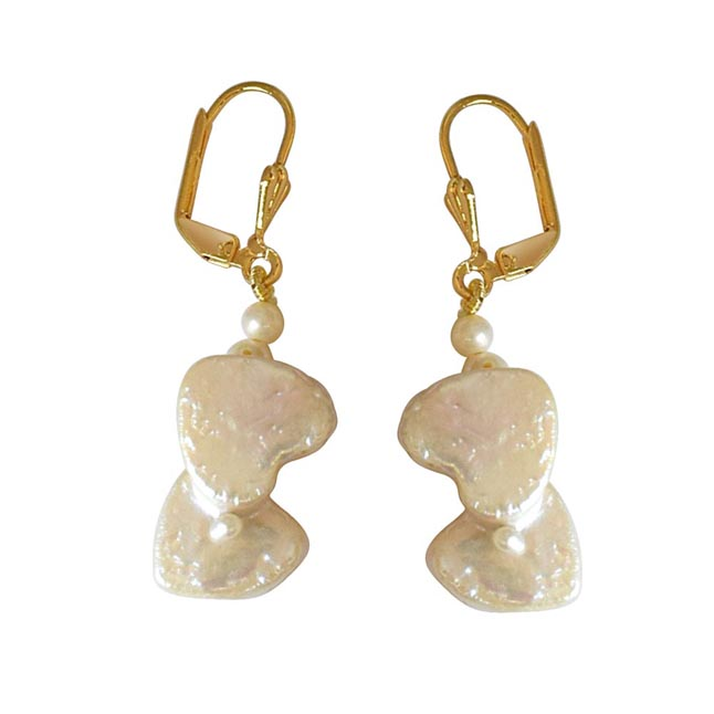Real Natural Double Heart & Round Pearl & Gold Plated Hanging Earrings