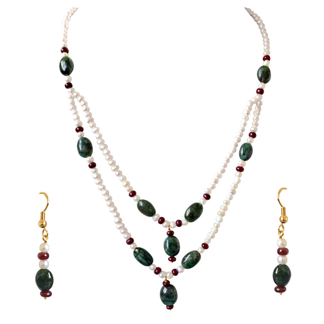 Real Oval Emerald, Ruby Beads & Freshwater Pearl Necklace & Earrings Set -Pearl Set