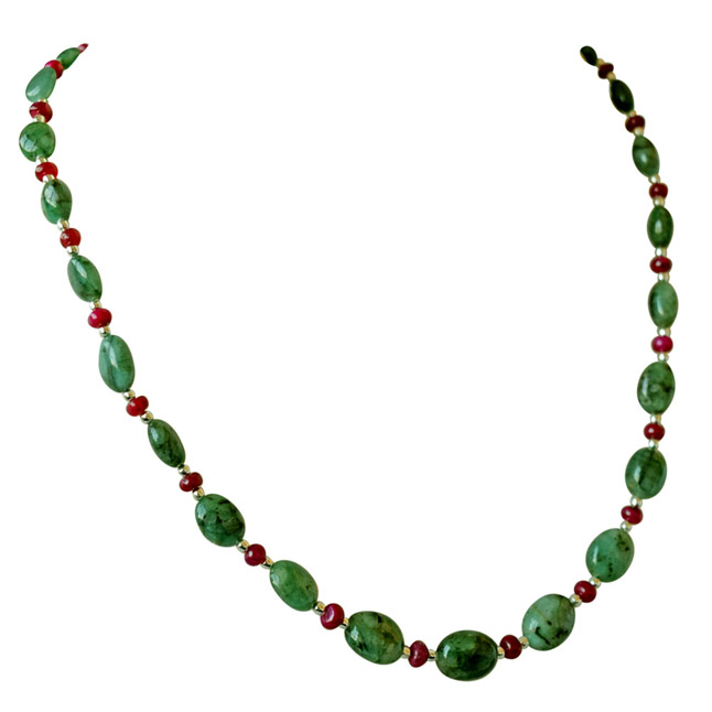 Real Oval Green Emerald, Ruby Beads & Silver Plated Beads Necklace for Women -Precious Stone Necklace