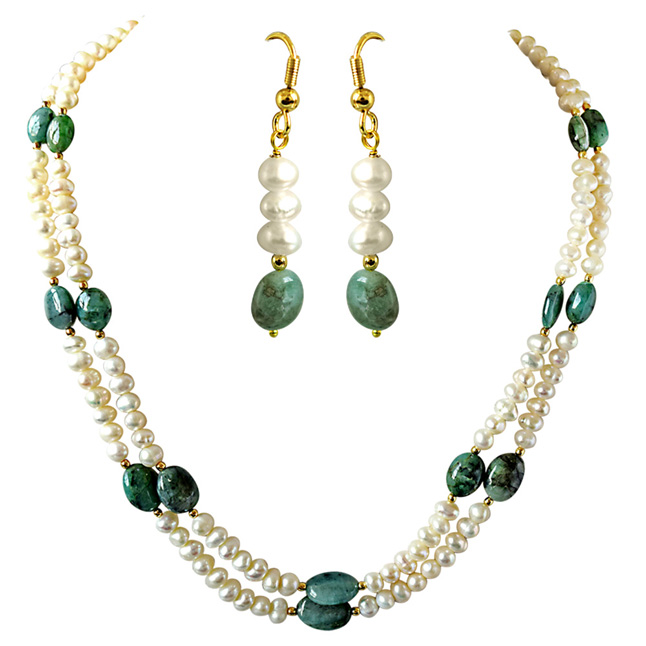 Real Oval Green Emerald & Freshwater Pearl 2 Line Necklace & Hanging Earrings Set -Pearl Set