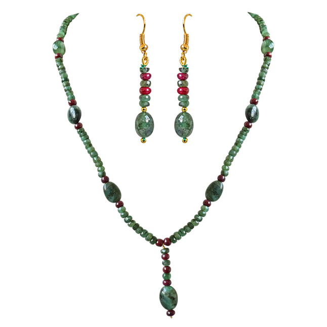 Real Oval Green Emerald, Beads & Ruby Beads Trendy Necklace & Earring Set for Women (SN687)