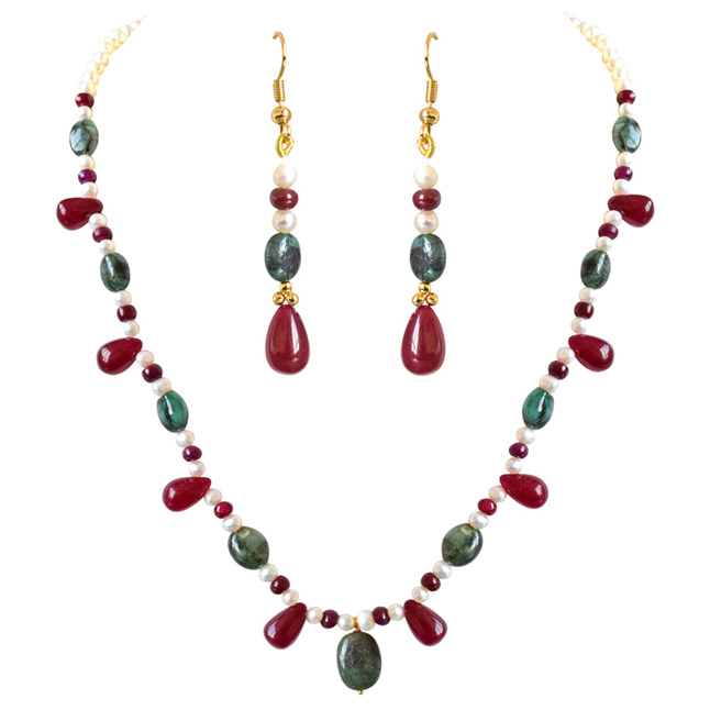 Real Oval Green Emerald, Red Drop Ruby & Beads & Freshwater Pearl Necklace Earrings Set -Gemstone Set