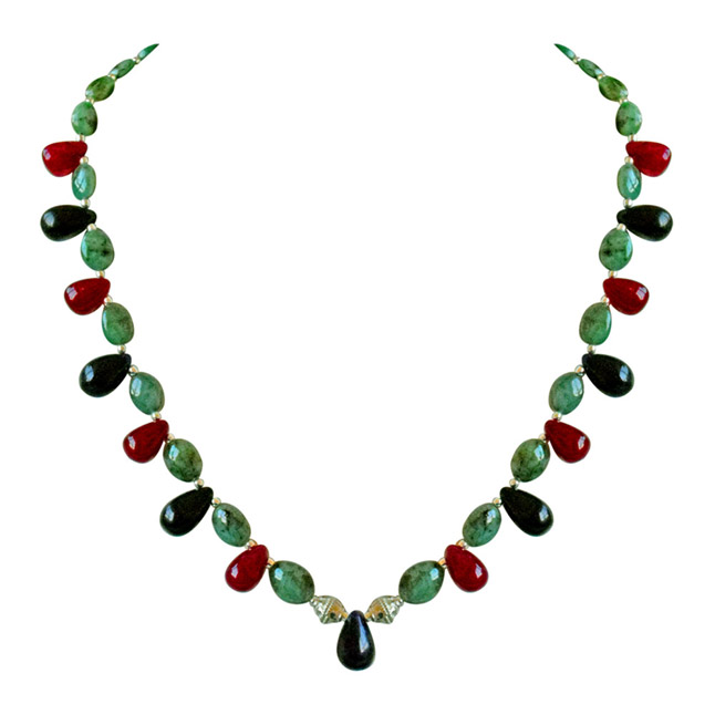 Buy precious stone necklaces and semi precious stone necklace real oval green emerald drop red ruby blue sapphire silver plated beads necklace aloadofball Image collections