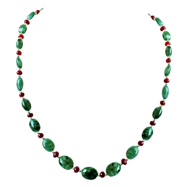 Real Oval Green Emerald, Ruby Beads & Silver Plated Beads Necklace for Women