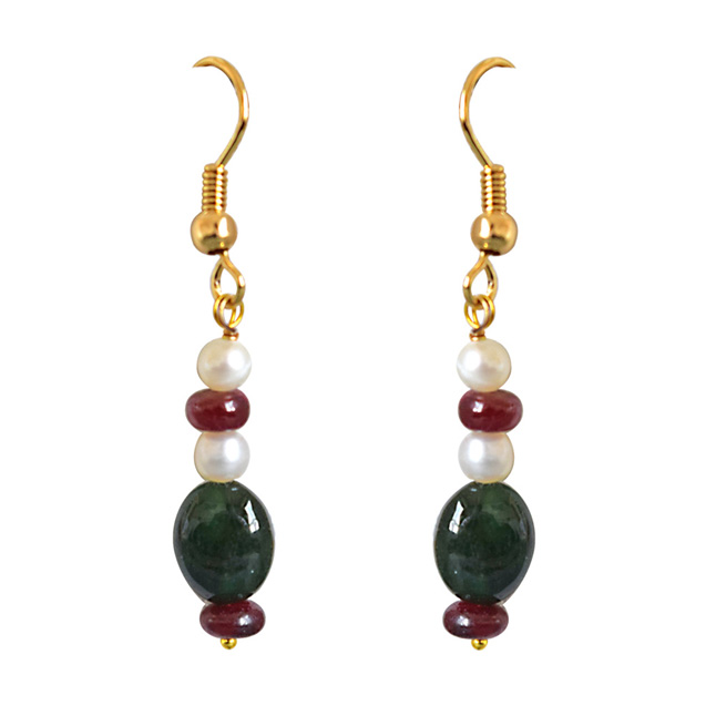 Real Oval Emerald, Ruby Beads & Freshwater Pearl Necklace & Earring Set for Women (SN686)