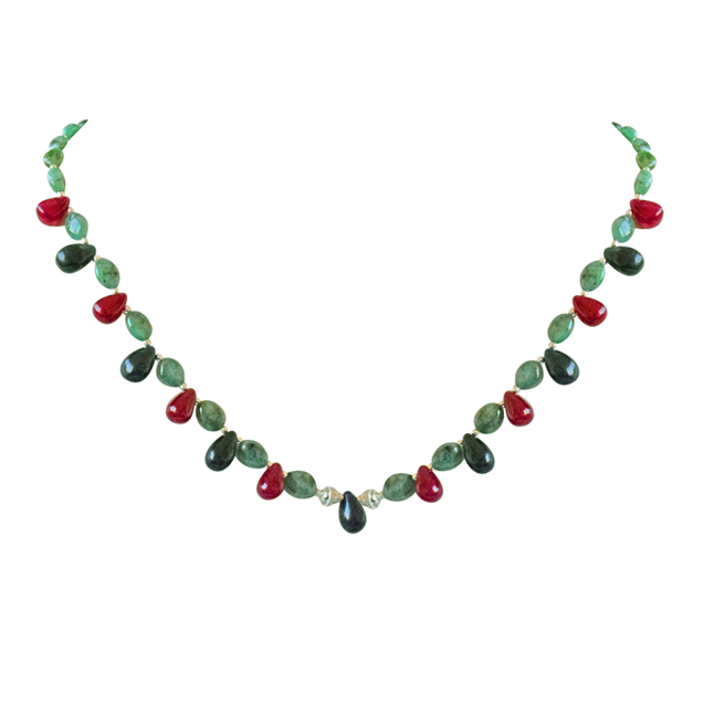 Real Oval Green Emerald, Drop Red Ruby, Blue Sapphire & Silver Plated Beads Necklace -Precious Stone Necklace