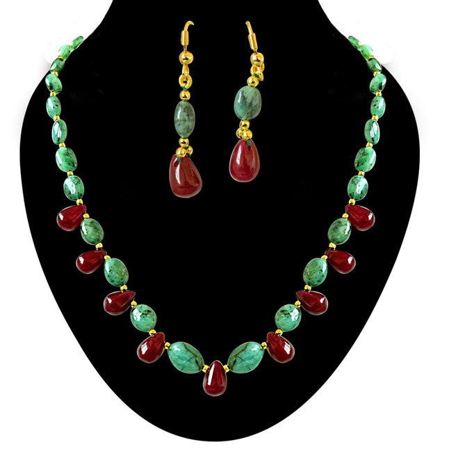 Real Oval Green Emerald & Drop Red Ruby & Gold Plated Beads Necklace with Dangling Earrings (SN675)