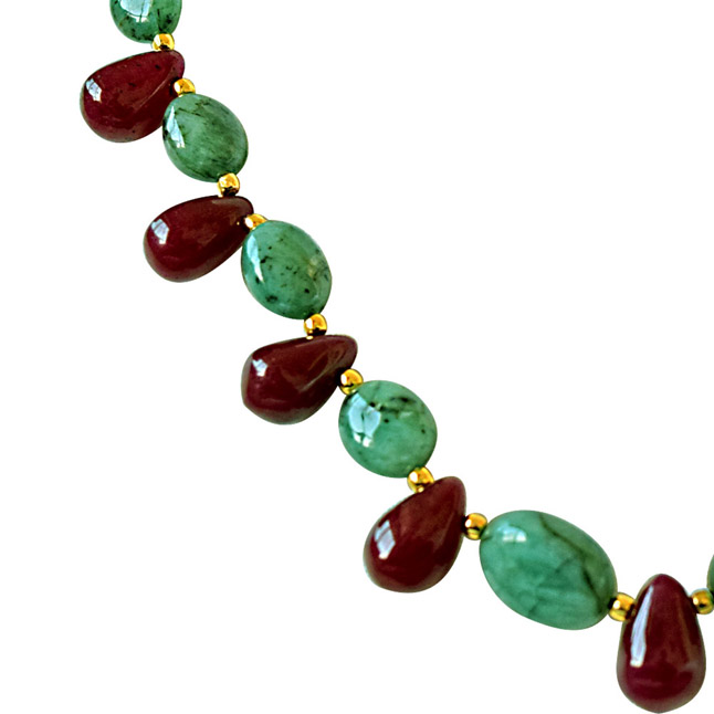 Real Oval Green Emerald & Drop Red Ruby & Gold Plated Beads Necklace with Dangling Earrings -Gemstone Set