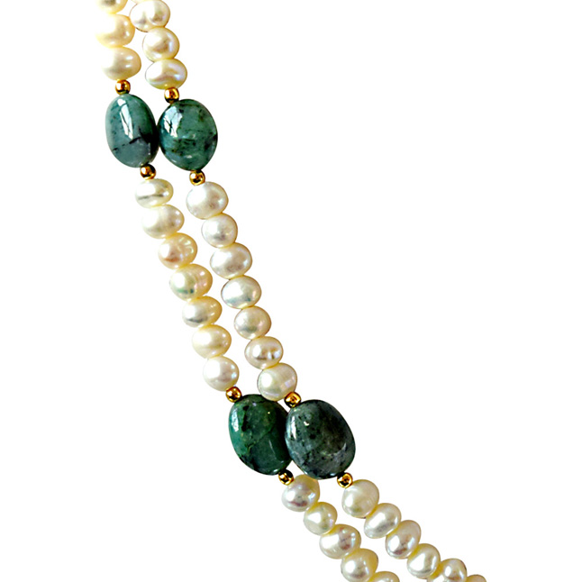 Real Oval Green Emerald & Freshwater Pearl 2 Line Necklace & Hanging Earring Set for Women (SN682)